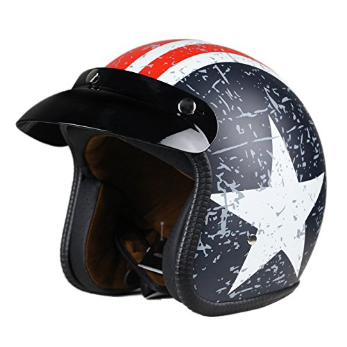 Woljay 3/4 Open Face helmet, Motorcycle Helmet Flat with Rebel Star Graphic White + Bule (Retro Open Face Helmets)