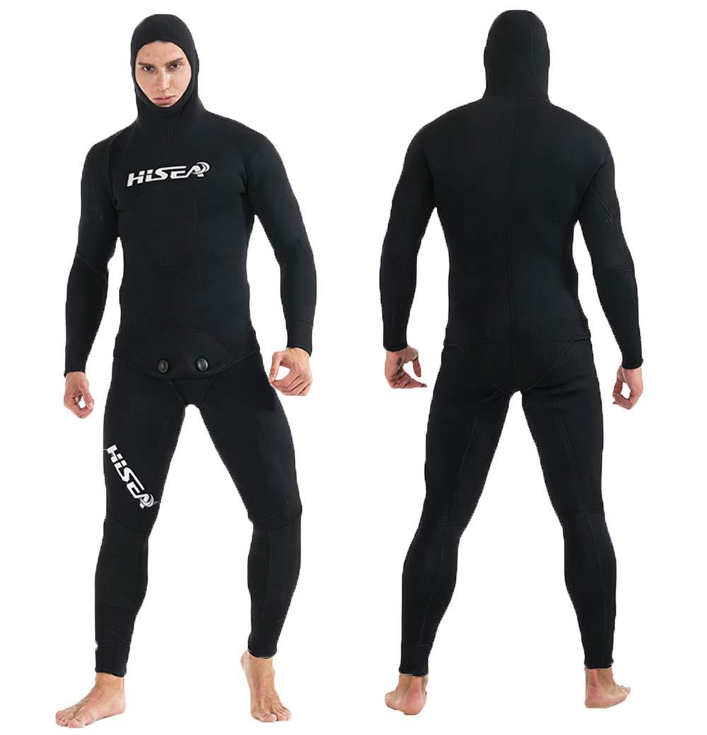 JUNMI ウェットスーツ メンズ 3.5mm ネオプレン素材 フード付き 2ピース フルスーツ 胸スキン スピアフィッシング 魚突き 4カラー B07PNYL5DY Large|ブラック ブラック Large
