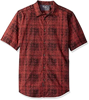 Calvin Klein Jeans Men's Short Sleeve Digital Tartan Print Button Down Shirt