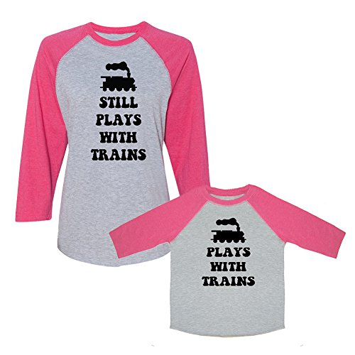 We Match! Plays with Trains & Still Plays with Trains Matching Women's Baseball Scoop Neck T-Shirt & Child T-Shirt Set (Youth X-Large T-Shirt, Women's Baseball T-Shirt Medium, Hot Pink) ()