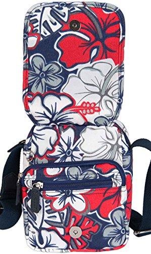 Facile 3938 Da Viaggio Disegno Borsa Marineblau Di Crossover Multicolore Blumen Spirito qE84xAZC