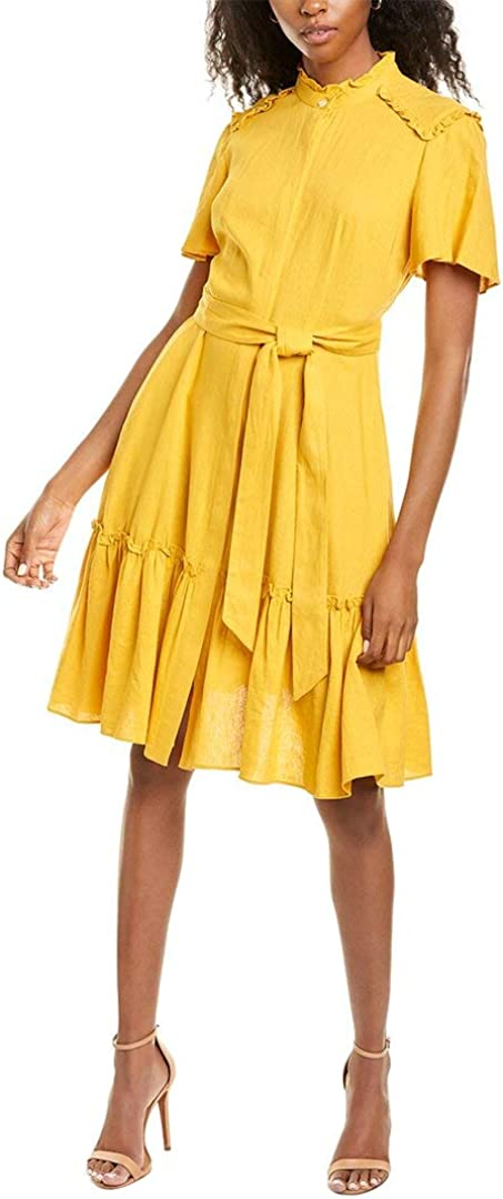 Donna Morgan Women's Petite Short Sleeve Ruffle Neck and Hem Self-tie Fit and Flare Linen Dress