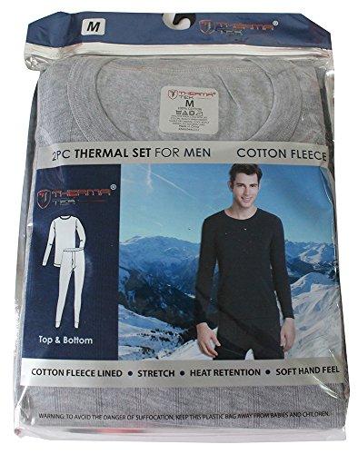 Therma Fit Fleece Top - Therma Tek Formerly Comfort Fit Men's Winter Thermal Cotton Fleece Top & Bottom 2 Pcs Set Light Gray M