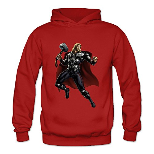 Crystal Men's Thor Long Sleeve Pullover Hoodie Red US Size
