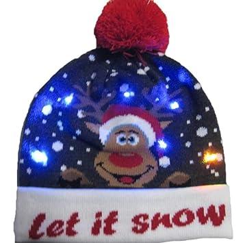 56e53e65163aa Bloomma LED Light-up tricoté Laid Pull Vacances Noël Bonnet, Festival du  Cadeau,