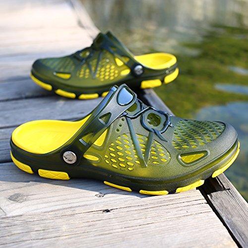 in 43 scarpe da semi estivi verde uomini spiaggia spiaggia scarpe acqua giocare fankou sandali Il da scuro traspirante viaggio Baotou c trascinato scarpe foro pantofole v1Waq