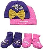 Gerber Childrenswear Dots 4 Pack Cap & Bootie Set, 0 - 6 Months, Grey, Baltimore Ravens