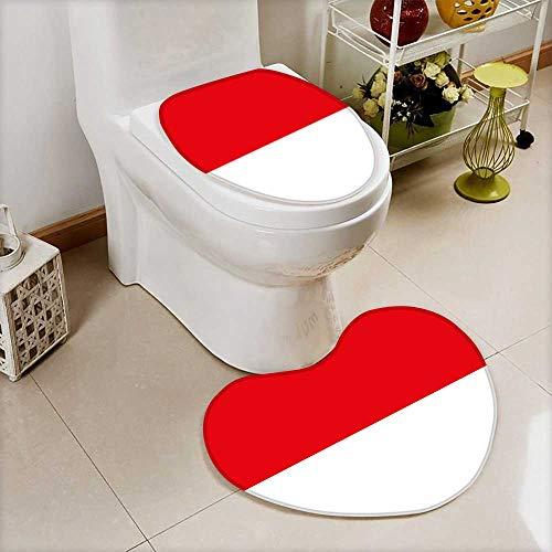Printsonne Bathroom Non-Slip Floor Mat flag of indonesia Cushion Non-slip by Printsonne