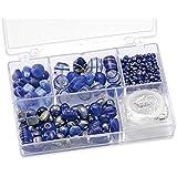 Knorr prandell 216049350 Sortimentsbox Glasperlen (klein, 11,5 x 7,5 x 2,5 cm, 80 g) blau