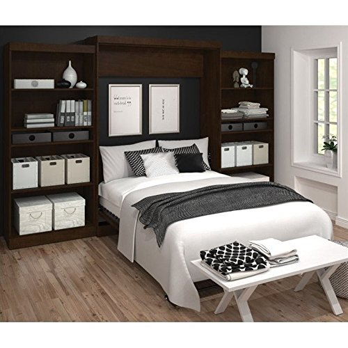 Bestar Furniture 26885-69 Pur 136'' Queen Wall Bed Kit Including Two Doors and Eight Drawers with Simple Pulls and Adjustable Shelves in by Bestar