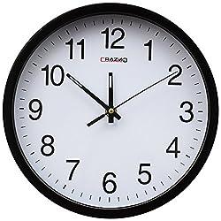 Grazing 10 Arabic numerals,Digital Non-ticking Silent Quartz Plastic Decorative Round Wall Clock (Black)
