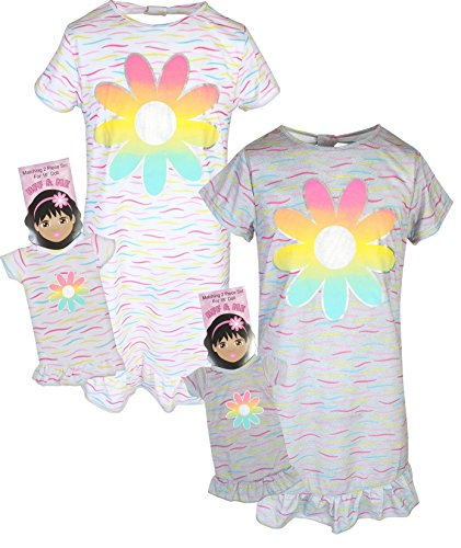 BFF & ME Girls Nightgown Pajama Set with Matching Doll Pajama (2 Pack), Flower, Size 6/6X'