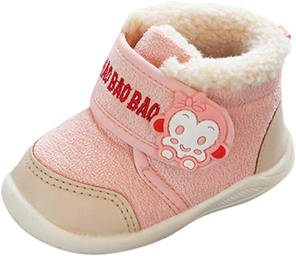12-15 Months, Pink Infant Baby Boys Girls Winter Cotton Shoes Warm Boots for 1-3 Years Old Cute Cartoon Monkey Walking Shoes
