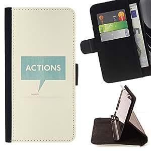 For Sony Xperia Z1 L39 Case , Acciones Habla texto del trullo Caja minimalista- la tarjeta de Crédito Slots PU Funda de cuero Monedero caso cubierta de piel