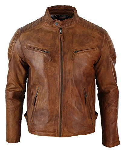 Mens Slim Fit Retro Style Zipped Biker Jacket Real Washed Leather Tan Brown Urban (Jacket Washed Biker Leather)