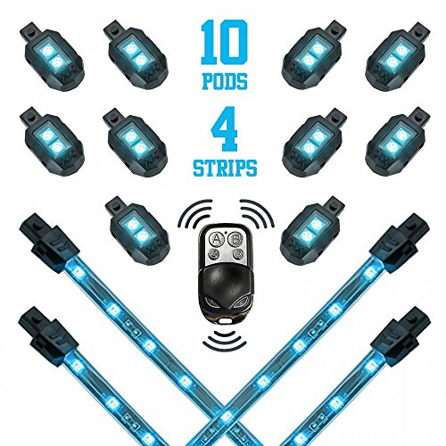 Ab Solid Cast (Premium LIGHT BLUE 10 POD 4 STRIPS LED Motorcycle Engine & Ground Neon Accent Light Kit with 4-key Remote)