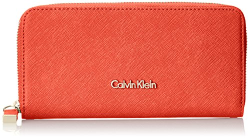 Calvin Klein SaffiaNo Zip Continental Wallet, Coral, One Size by Calvin Klein