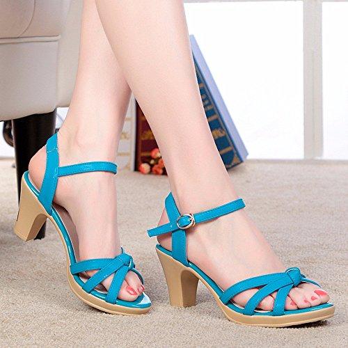 Shoes Sandalias de Verano Femenina Mujer de Mediana Edad La Comodidad Elegante Madre Zapatos Blue