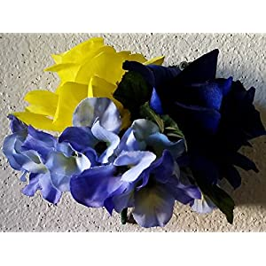 Royal Blue Yellow Rose Corsage or Boutonniere 10
