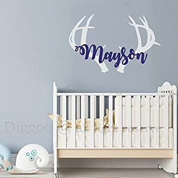 Amazon.com: Personalized Deer Antlers Name Decal, Rustic Baby Boho ...