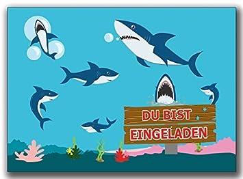 Einladungskarten Kindergeburtstag Hai Haie Einladung Geburtstag ...