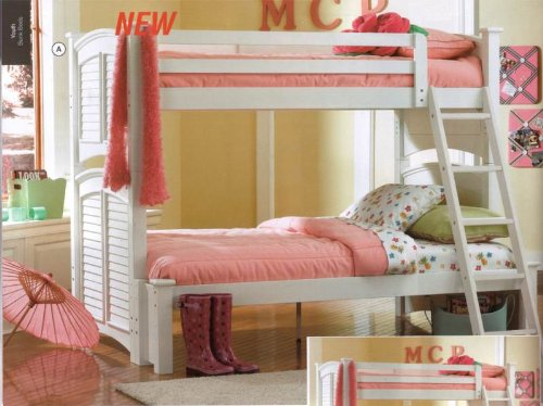 White Shutter HardWood Twin Full Size Bunk Bed