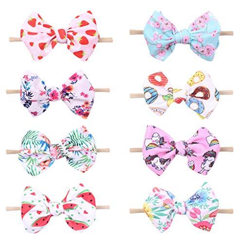 Xinshi Baby Girls Elastic Soft Hair Band Infant Bow Headbands Turban (XS-K2(8PCS))