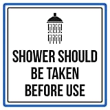 Shower Should Be Taken Before Use Pool Spa Warning Square Sign, Metal - Inch, 12x12