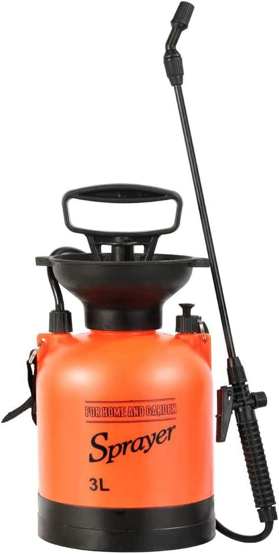 Garden Pump Sprayer Lawn Portable 0.8 Gallon Weed Sprayers Bottle Hand Pressure Spray for Yard with Pressure Relief Valve, Adjustable Shoulder Strap and Nozzles