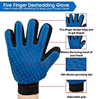 Pet Grooming Glove - Gentle Deshedding Brush Glove - Efficient Pet Hair Remover Mitt - Perfect for Dogs and Cats - Right Handed Hair Removal Brush - (Send Stainless Steel Comb Pet Grooming Tools)