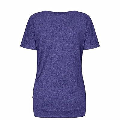 Meikosks Women's Solid Color Basic Blouses Short Sleeve Crewneck Tops Button Trim T Shirt: Clothing