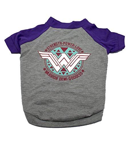 (DC Comics Wonder Woman Logo Dog Tee | Superhero T-Shirt for Dogs, Medium, Gray )