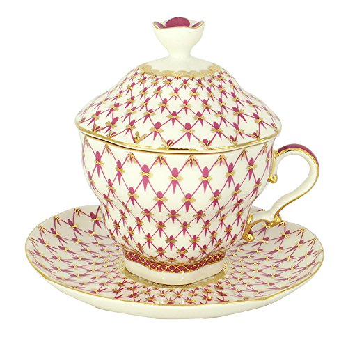 Lomonosov Porcelain Red Net Covered Tea Cup and Saucer 8.45 oz/250 ml