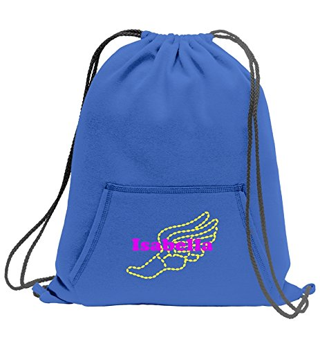 All about me company Core Fleece Sweatshirt Cinch Pack | Personalized Girls Track and Field Sackpack (Royal) ()
