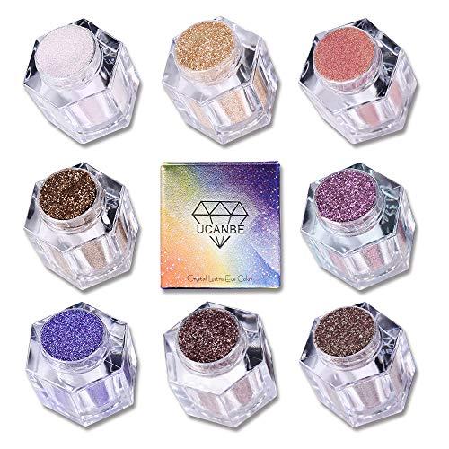 UCANBE Glitter Shimmer Loose Eyeshadow Powder Makeup Set, 8 Colors Highly Pigmented 3D Nude Metallic Sparkling Waterproof Eye Shadow Kit