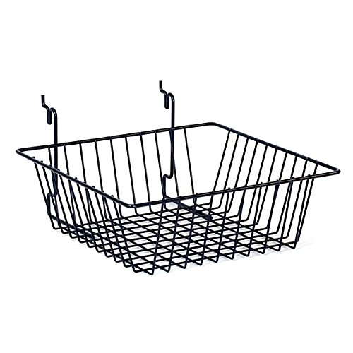 Wire Basket Slatwall Gridwall Pegboard Display Fixture 12''W Lot of 6 Black NEW