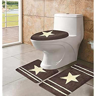 Cowboy/ Cowgirl Star Western Design Three Pieces Bath Mat Rug, Contour and Lid Cover Beige , Chocolate or Burgundy (Chocolate)