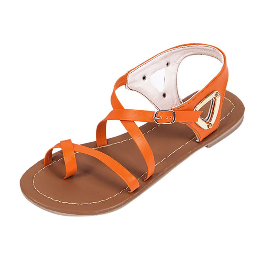 Thenxin Women's Summer Tie Up Ankle Flat Sandals Ladies Casual Beach Roman Shoes (Orange,9 US)