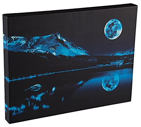Light Up Poster by Clever Creations   Blue Moon Over Mountain Lake Wall Art with Bright Color Changing LEDs   11.75