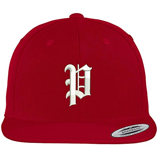 Trendy Apparel Shop Old English P Embroidered Flat Bill Snapback Cap - Red