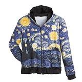 Women's Fine Art Front Zip-Up Hoodie Sweatshirt - Starry Night - Medium