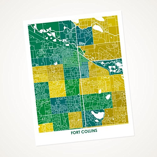 Amazon.com: Fort Collins, Colorado Art Map Print. Choose your Colors ...