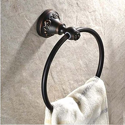 Solid Bronze Towel Ring (Senlesen Solid Brass Towel Ring Oil Rubbed Bronze Towel Holder Round Flower Carved Wall Mounted)