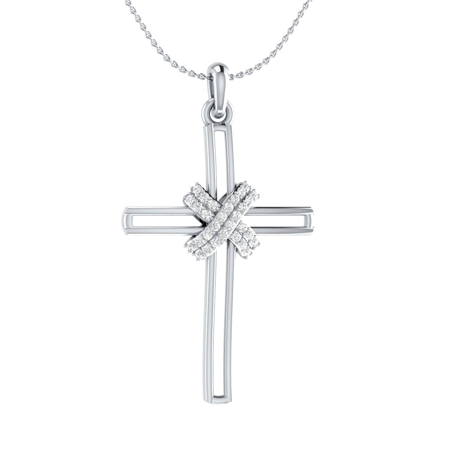 0ad9422ae2cf IGI Certified 1 5cttw Diamond Sterling Silver Cross Pendant Necklace ...