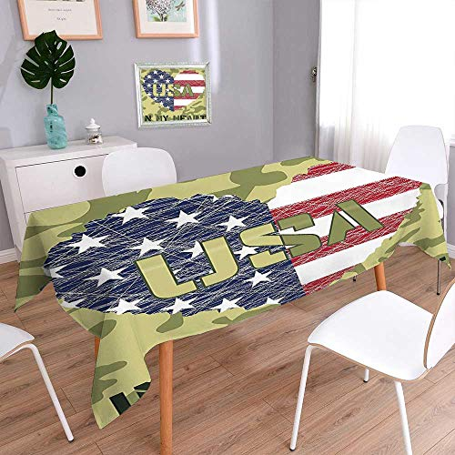 Jiahonghome Waterproof Spill Proof Tablecloth Shaped American Flag Military and Grunge Style Illustration Art Sage Green and Khaki Washable for Tablecloth ()