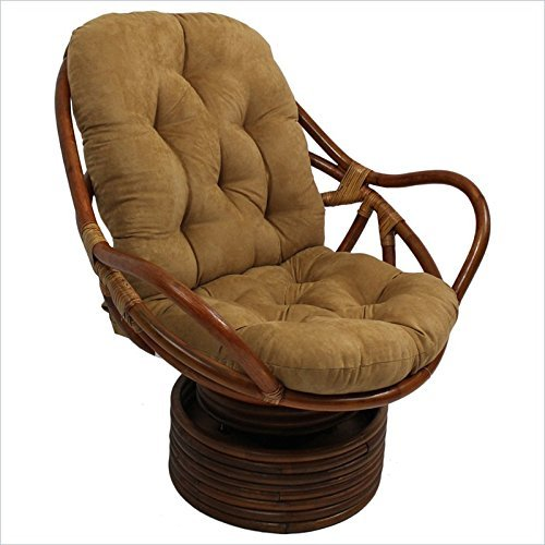 Micro Suede Rocker - International Caravan 3310-MS-SP-IC Furniture Piece Rattan Swivel Rocker with Micro Suede Cushion