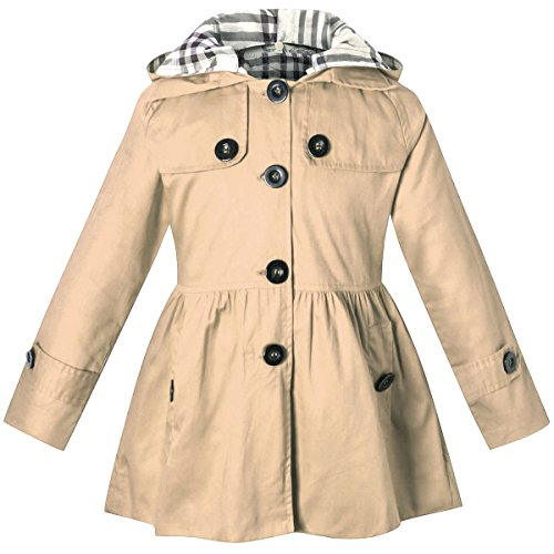 Little Girls Jacket - Long Sleeves Fashion Casual Chino Cotton Hooded Hoodie Trench Coat Outerwear Windbreaker for Little Girls & Big Girls, A-Khaki, 7-8 Years=Tag 140