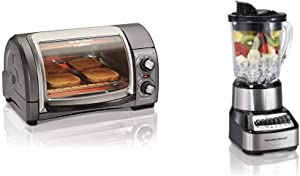 Hamilton Beach Easy Reach With Roll-Top Door Toaster Oven 4-Slice Silver & Wave Crusher Blender with 40oz Glass Jar and 14 Functions for Puree, Ice Crush, Shakes and Smoothies, Stainless Steel