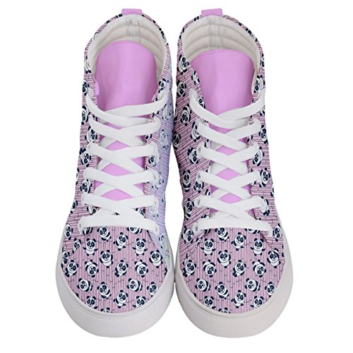 Pattern Sneakers Panda Fun Top CowCow Womens Shoes Skate Balloons amp; Hi Panda Pink 4fnn6