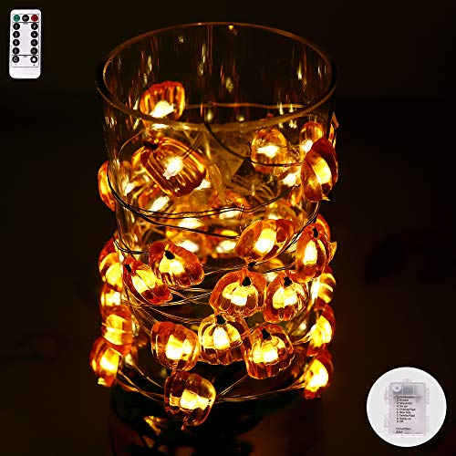 String Lights Pumpkin Shape,13ft 40LEDs Copper Wire Battery-Operated with Remote-8 Modes Timer for Indoor Outdoor, Wedding, Birthday Ornament, Patio, DIY Home Parties -